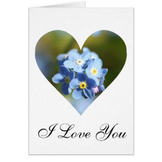 Corazón de las nomeolvides tarjeta de felicitación