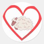 Corazón de las ovejas etiquetas redondas