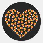 Corazón de las pastillas de caramelo etiquetas redondas