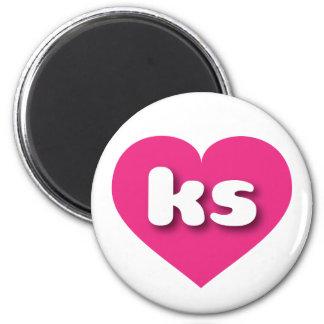 Corazón de las rosas fuertes de los ks de Kansas Imán Redondo 5 Cm