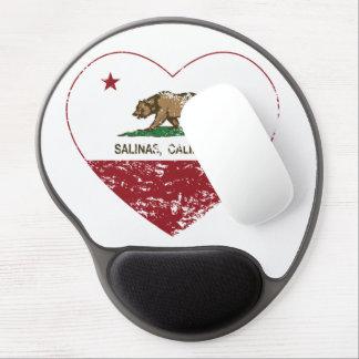 corazón de las salinas de la bandera de California Alfombrillas Con Gel