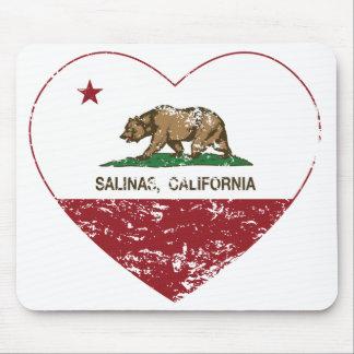 corazón de las salinas de la bandera de California Alfombrillas De Ratones