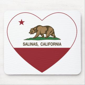 corazón de las salinas de la bandera de California Tapetes De Ratones