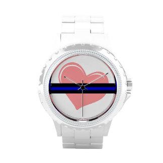 Corazón de las señoras en el reloj fino de Blue Li
