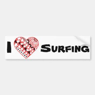 Corazón de LineA I que practica surf (polinesio) Pegatina Para Auto