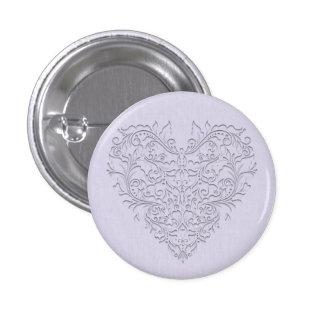 Corazón de lino del damasco de la lavanda de pin redondo de 1 pulgada