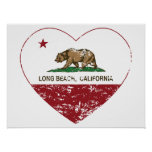 corazón de Long Beach de la bandera de California  Posters