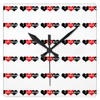 Corazón de los abrazos reloj cuadrado