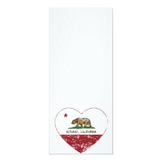 """corazón de los alturas de la bandera de California Invitación 4"""" X 9.25"""""""