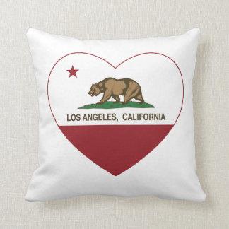 corazón de Los Ángeles de la bandera de California Cojín