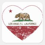 corazón de Los Ángeles de la bandera de California Pegatina Cuadrada