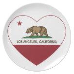 corazón de Los Ángeles de la bandera de California Platos Para Fiestas