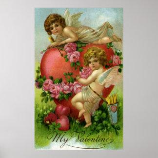 Corazón de los ángeles del día de San Valentín del Póster