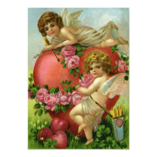 Corazón de los ángeles del Victorian del día de Invitación Personalizada