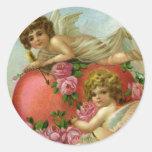 Corazón de los ángeles del Victorian del día de Pegatinas Redondas