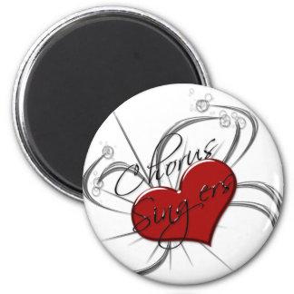 Corazón de los cantantes del estribillo del amor imán para frigorifico