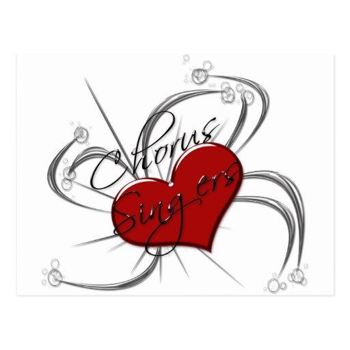 Corazón de los cantantes del estribillo del amor tarjetas postales
