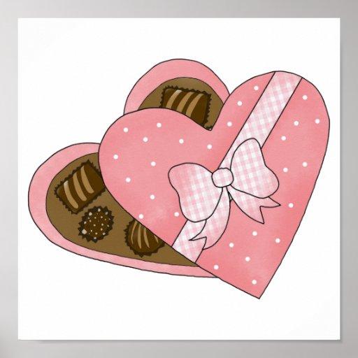 corazón de los chocolates de la tarjeta del día de póster