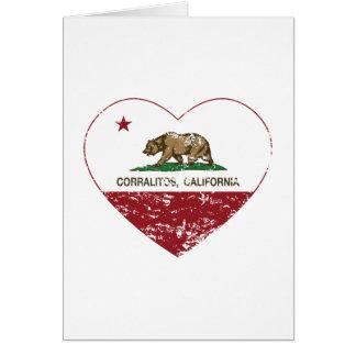 corazón de los corralitos de la bandera de Califor Tarjeta De Felicitación