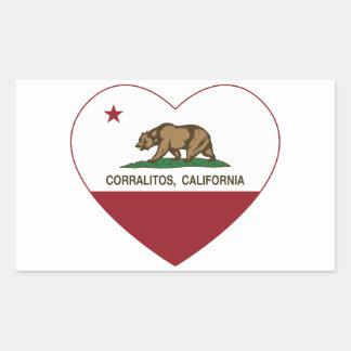 corazón de los corralitos de la bandera de pegatina rectangular