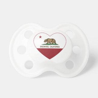corazón de los encinitas de la bandera de Californ Chupete De Bebé