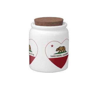 corazón de los ríos de la bandera tres de Californ Jarras Para Caramelos