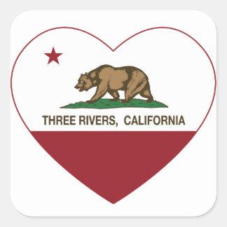 corazón de los ríos de la bandera tres de pegatina cuadrada