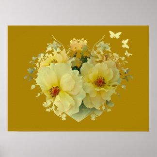 Corazón de los rosas amarillos en el poster del or