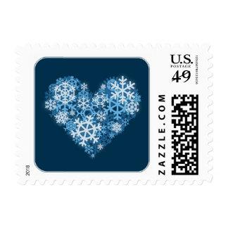 Corazón de los sellos azules del cuadrado del día