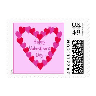 Corazón de los sellos de la tarjeta del día de San
