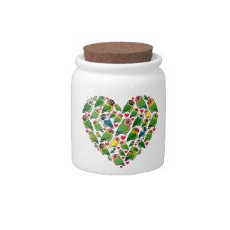 Corazón de Lovebirds Jarras Para Caramelos
