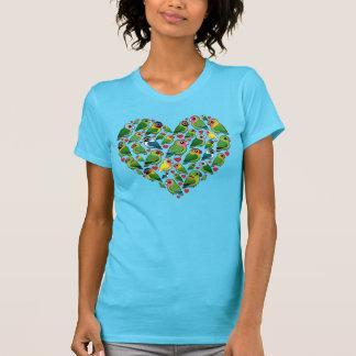 Corazón de Lovebirds Camisetas