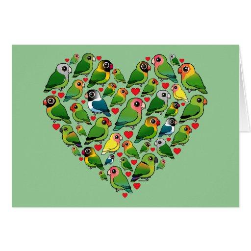 Corazón de Lovebirds Tarjeton