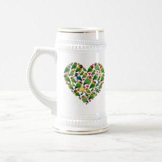 Corazón de Lovebirds Jarra De Cerveza