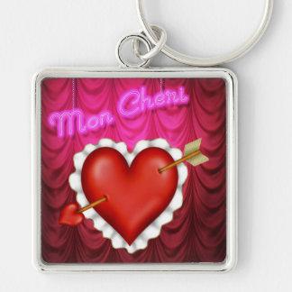 Corazón de lunes Cheri Llavero Cuadrado Plateado