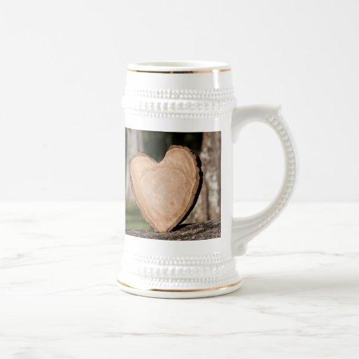 corazón de madera tazas de café
