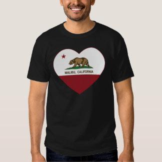corazón de malibu de la bandera de California Camisas