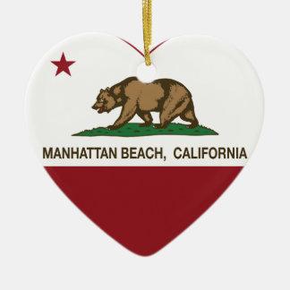 corazón de Manhattan Beach de la bandera de Adorno Navideño De Cerámica En Forma De Corazón