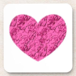 Corazón de mármol rosado posavasos de bebidas