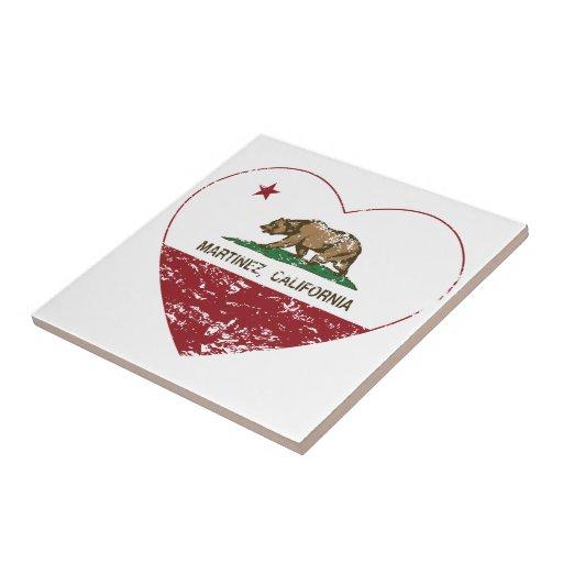 corazón de Martínez de la bandera de California ap Tejas Cerámicas