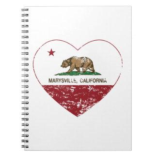 corazón de marysville de la bandera de California Libro De Apuntes Con Espiral