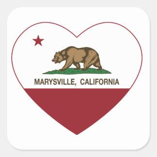 corazón de marysville de la bandera de California Pegatina Cuadrada