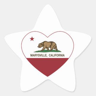 corazón de marysville de la bandera de California Pegatina En Forma De Estrella