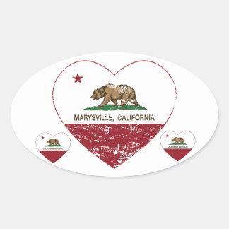 corazón de marysville de la bandera de California Pegatina Ovalada