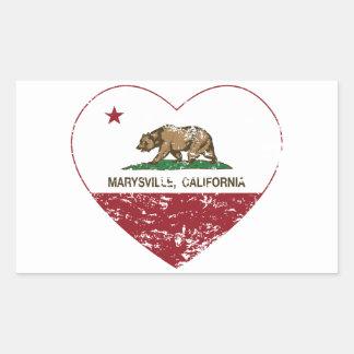 corazón de marysville de la bandera de California Pegatina Rectangular