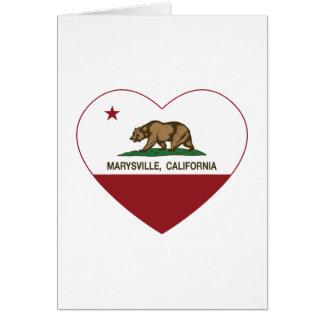 corazón de marysville de la bandera de California Tarjeta De Felicitación