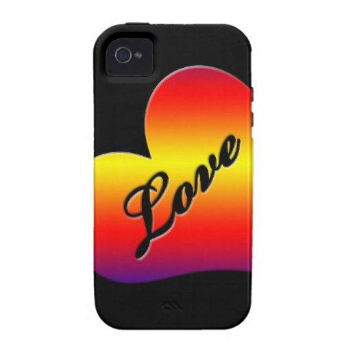 Corazón de neón del arco iris del amor iPhone 4 funda