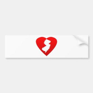 Corazón de New Jersey Pegatina Para Auto