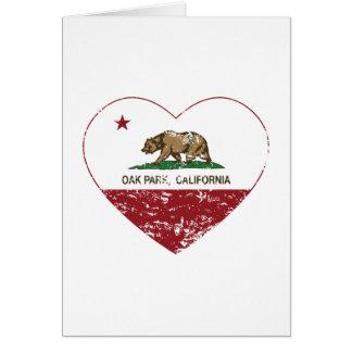 corazón de Oak Park de la bandera de California ap Tarjeta