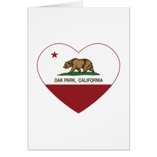 corazón de Oak Park de la bandera de California Tarjetón